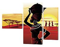"""Модульная картина """"Африканская девушка"""" 133x99 см"""