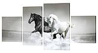 """Модульная картина """"Лошади на море"""" 210x110 см"""