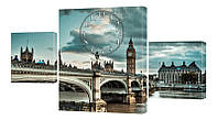 """Часы-модульная картина """"Лондон"""" 180x95 см"""