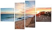 """Часы-модульная картина """"Пляж"""" 170x100 см"""