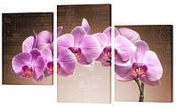 """Модульная картина """"Сиреневая орхидея"""" 163x99 см"""