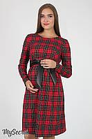 Платье для беременных и кормящих Barbara, красное в клетку*