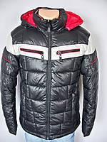 Мужская зимняя куртка с капюшоном на молнии черная