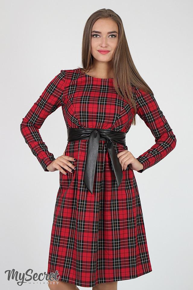 46c03b798e060c8 Платье имеет секрет для кормления в виде потайных молний в нагрудных  рельефах. Цвет: красно-бело-черная клетка