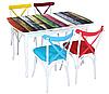 """Комплект кухонный стол и стулья """"Разноцветные доски""""  МДФ каленое стекло 75*130 деревянная нога (Лотос-М)"""