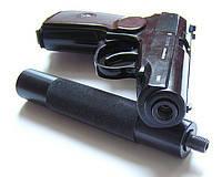 Видео обзор пневматического пистолета МР-654К с имитатором глушителя