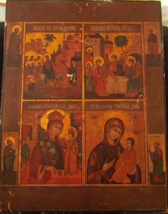 Четырехчастник вход Господень в Иерусалим Троица Тихвинская  Богородица Богоматерь неувядаемый цвет, фото 2