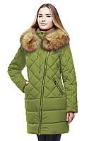 Стильное зимнее пальто оливкового цвета