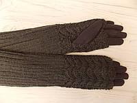 Меховые перчатки длинные с митенками