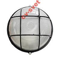 Светильник влагозащ. круг 60W черный с решеткой