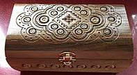 Скринька дерев'яна ручної роботи інхрустована металом 20,5*11*10 см, фото 1