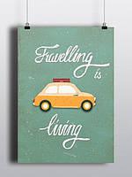Постер Travelling is living А2 на подарок
