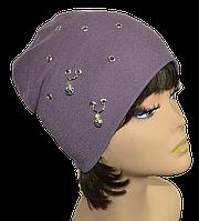 Шапка женская  колпак  модная Серьги фиолетовая