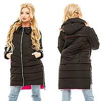 Зимняя женская куртка с удлиненной спинкой плотная плащевка на холофайбере Размеры:42, 44, 46, 48
