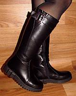 Кожаные женские сапоги без каблука
