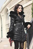 Оригинальная куртка на молнии с натуральным мехом песец