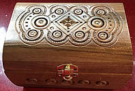 Шкатулка дерев'яна ручної роботи інхрустована металом 16*11*10 см, фото 1