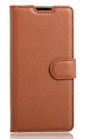 Кожаный чехол-книжка для Doogee X6 / X6 Pro коричневый