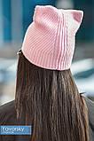 Шапка с ушками розовая одинарная, фото 2