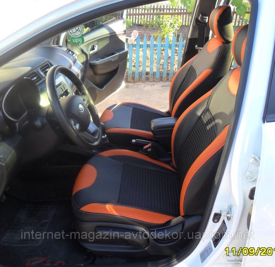 Авточехлы экокожа или экокожа+ткань для Hyundai Santa Fe 2007-12г.