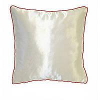 Подушка сублимационная квадратная атласная кант (красный)  35*35