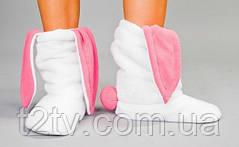 Тапочки Зайчики белые с розовыми ушами