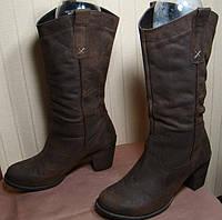 Сапоги женские демисезонные кожаные коричневые Next (размер 39)