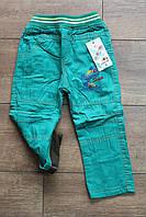Утепленные катоновые брюки на флисе для мальчиков. 1- 2 года