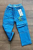 Утепленные катоновые брюки на флисе для мальчиков 2- года