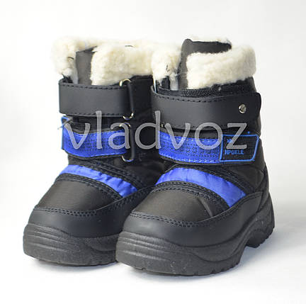 Детские зимние дутики сапоги на зиму для мальчика черные 22р 12,5см, фото 2