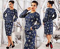 """Элегантное женское платье средней длины 115 """"Джинс Цветы Кармашки"""" в расцветках"""