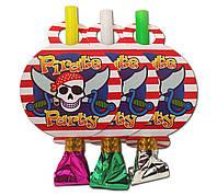 """Язычок -  гудок карнавальный """" Пираты """" , 6 шт. в уп."""