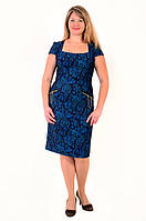Платье женское утягивающее ,с принтом «турецкий огурец», Пл 035-5 , джинс ,одежда для полной молодежи .