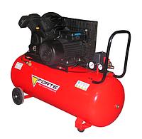 Ременной компрессор воздушный 2 цилиндровый на 100 литров Forte V-образный для покраски авто и шиномонтажа,