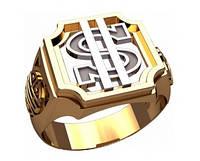 """""""Доллар"""" - мужской золотой перстень 585* пробы"""