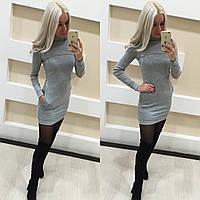 Теплое короткое платье с длинным рукавом