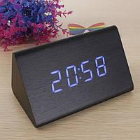 Часы декоративные с красной подсветкой в виде дерев.бруска VST-861-1