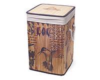 "Складная корзина для белья ""Колибри"", бамбук, 35x55см."