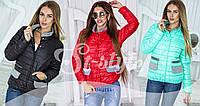 Куртка из стёганной плащовки, синтепон 150 см, карманы, цвета: красный, мята, черный, молочный,вш № 889