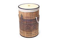 "Складная корзина для белья ""Старый город"", бамбук, 38x60см."