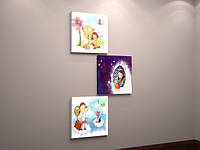 Картина на холсте в интерьер для девочки Цветы Миша Милая девочка 50х90 из 3х частей