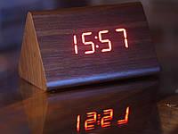 Часы декоративные с красной подсветкой в виде деревянного бруска VST-861-1