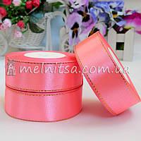 Атласная лента с люреском 2,5 см, розовая+золото