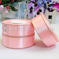 Атласная лента с люреском 2,5 см, св.розовый