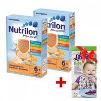 Акционный набор: Молочная каша Nutrilon кукурузно-рисовая с бананом нутрилон, 225 г х 2 + Слюнявчик