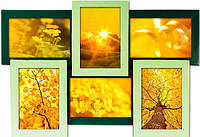 Фоторамка деревянная Зеленая на 6 фото