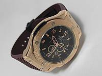 Мужские часы HUBLOT - GENEVE, цвет золото, коричневый ремешок протектор