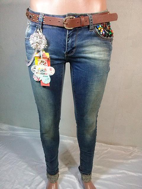 Женские джинсы узкие с манжетом