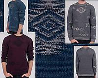 Мужской шерстяной свитер с узором. Вязаный мужской свитер. Пуловер вязаный мужской