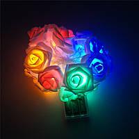 Ночник-гирлянда розы 20 розочек на батарейках разноцветные огни